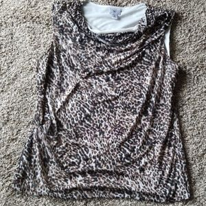 4/$25 Worthington Animal Print Drape Neck Top XL